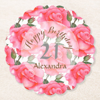 Custom Watercolor Pink Rose Birthday Coaster