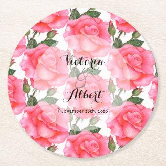 Custom Watercolor Pink Roses Wedding Coaster
