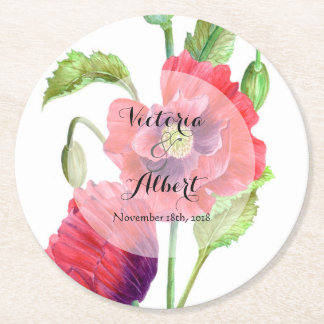 Custom Watercolor Red Poppies Wedding Coaster