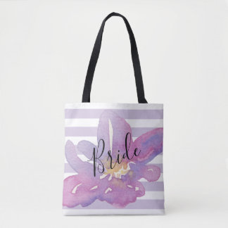 Custom Watercolor Violet Lavender Floral Bride Tote Bag