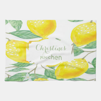 Custom watercolored lemons on white kitchen towel