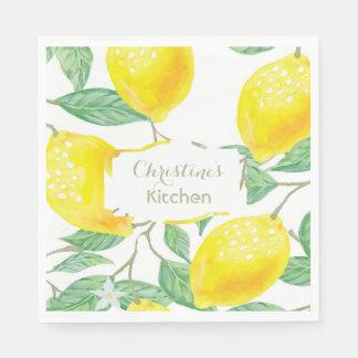 Custom watercolored yellow lemons on white text paper napkin