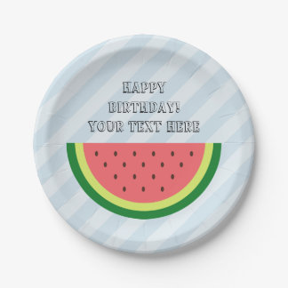 Custom watermelon paper plates for Birthday party