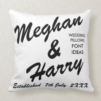 "Custom Wedding 20"" Cotton Throw Pillow BRUSH SCR."
