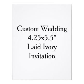 "Custom Wedding  4.25x5.5""  Laid Ivory Invitation"