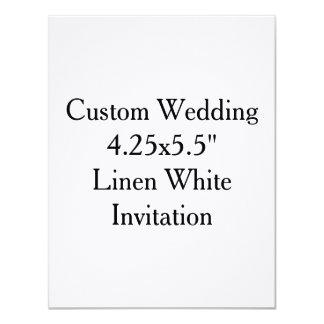"Custom Wedding  4.25x5.5""  Linen White Invitation"
