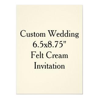 "Custom Wedding  6.5x8.75""  Felt Cream Invitation"