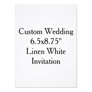 "Custom Wedding  6.5x8.75""  Linen White Invitation"