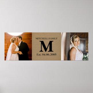 Custom wedding add your own photos monogram name poster