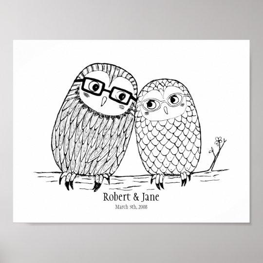Custom Wedding Anniversary Gift Owl Couple Poster