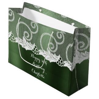 Custom Wedding Birthday Cali Greenly White Lace Large Gift Bag