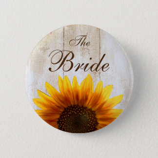 Custom Wedding Button Country Sunflower The Bride