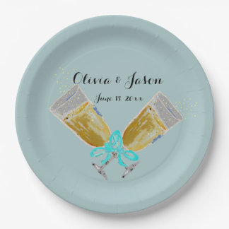 Custom Wedding Champagne Toast Teal Paper Plate