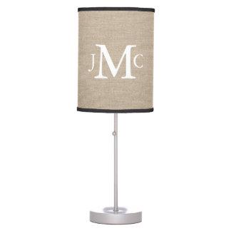 Custom wedding couple monogram rustic chic linen table lamp