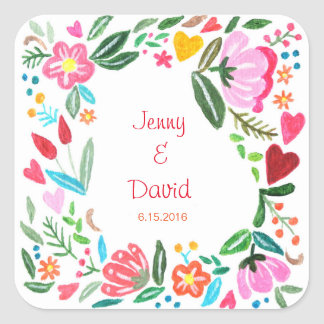 Custom Wedding Favor Sticker Personalized Floral