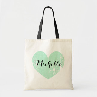 Custom wedding favor tote bag with vintage heart