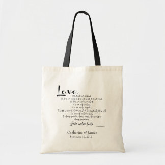 Custom Wedding Favors, Corinthians Quote LOVE Tote Bag