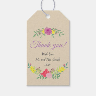 Custom Wedding Favour Gift Tag Watercolor Flowers