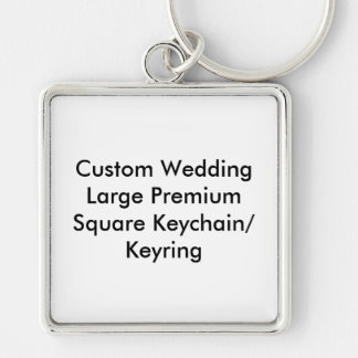 Custom Wedding (L) Premium Square Keychain Keyring