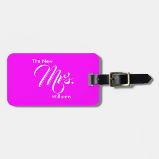Custom Wedding Magenta The New Mrs. Luggage Tag