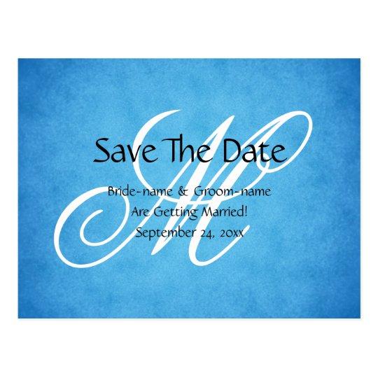 Custom Wedding Monogram Blue Vintage Style Postcard