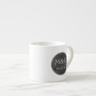 Custom Wedding Monogram Chalkboard Style Espresso Mug