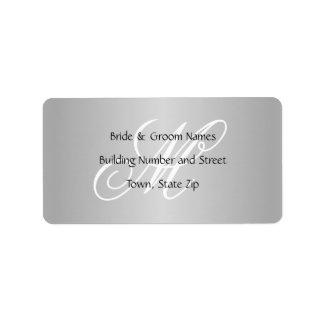 Custom Wedding Monogram Gray Black and White