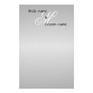 Custom Wedding Monogram Gray Black and White Stationery