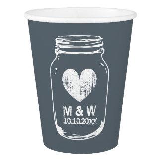 Custom wedding monogram rustic mason jar paper cup