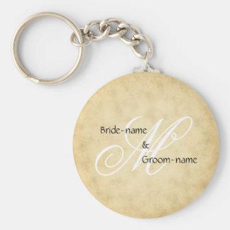 Custom Wedding Monogram Vintage Style Basic Round Button Keychain