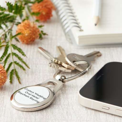 Custom Wedding Oval Metal  Keychain Keyring