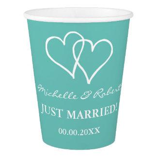 Custom wedding party cups with interlocking hearts