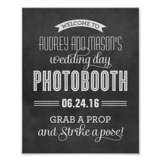 Custom Wedding Photo Booth Sign | Black Chalkboard