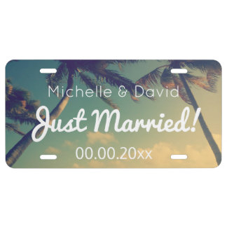 Custom wedding photo Just married license plate