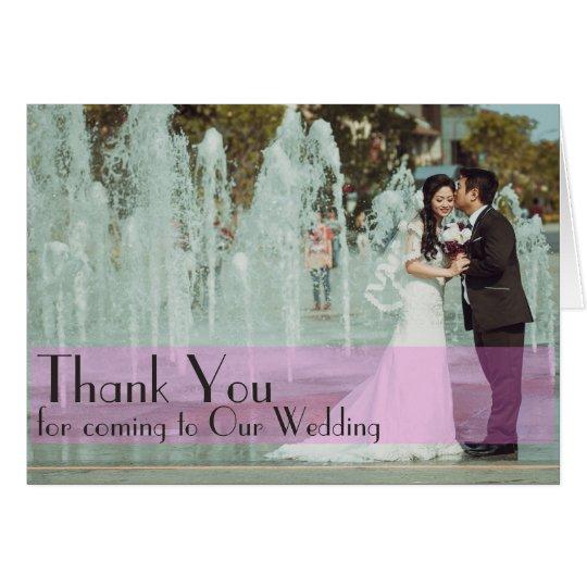 Custom wedding photo thank you card pink