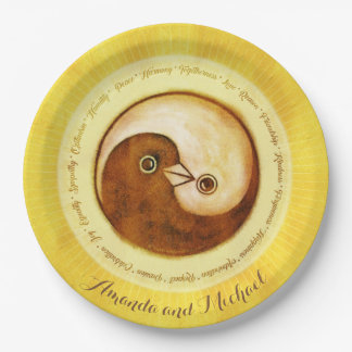 "CUSTOM WEDDING PLATE 9"" Gold YinYang doves Harmony"