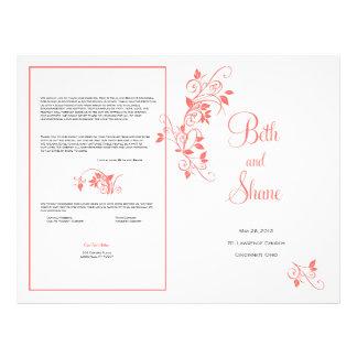 Custom Wedding Program - Coral