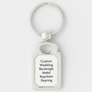 Custom Wedding  Rectangle Metal Keychain Keyring