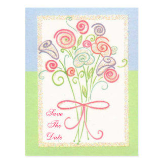 Custom Wedding Save The Date Floral Bouquet Post Card