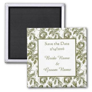 Custom Wedding Save the Date Golden Roses Magnet
