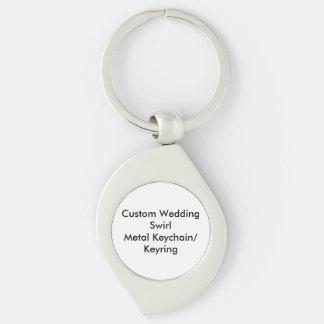 Custom Wedding Swirl Metal Keychain/Keyring Silver-Colored Swirl Keychain