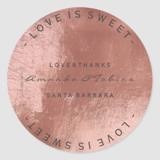 Custom Wedding Thanks Copper Rose Gold Glass Skin Classic Round Sticker
