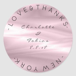 Custom Wedding Thanks Lilac Purple Lavender Ombre Classic Round Sticker