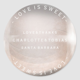 Custom Wedding Thanks Pink Rose Gold Pearl Bubble Round Sticker