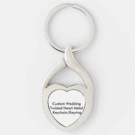 Custom Wedding Twisted Heart Metal KeychainKeyring Key Chains
