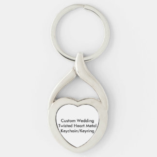 Custom Wedding Twisted Heart Metal KeychainKeyring Silver-Colored Twisted Heart Keychain