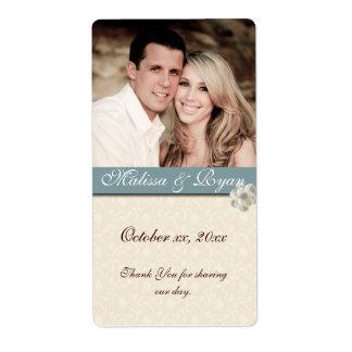 Custom Wedding Wine Label Add Your  Photo Shipping Label