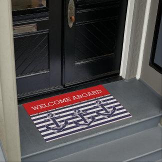 Custom Welcome Aboard Anchors Stripes Pattern Doormat