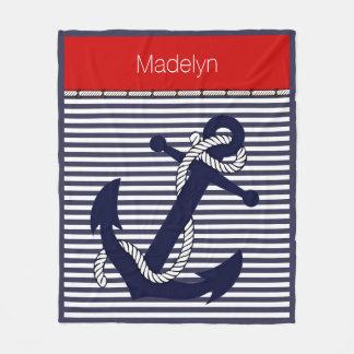 Custom Welcome Aboard Anchors Stripes Pattern Fleece Blanket