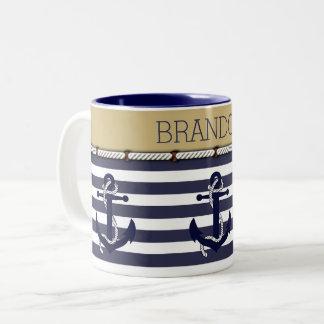 Custom Welcome Aboard Anchors Stripes Pattern Two-Tone Coffee Mug